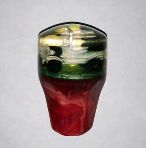 Vintage Clear Red Green Swirl Shift Knob Old School Jalopy Rat Rod Italian