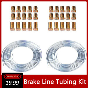 2pc Zinc Steel Brake Line Tubing Kit 3 16 25 Ft Coil Roll With 30pcs Fittings