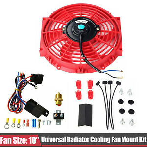 Red 10 Electric Radiator Cooling Fan Thermostat Relay Mounting Set