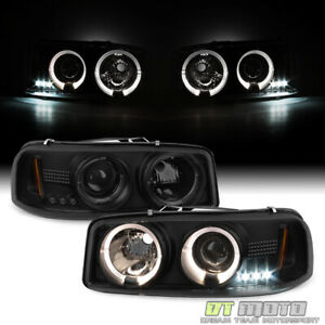 Blk Smoke 1999 2006 Gmc Sierra Yukon Xl Led Halo Projector Headlights Headlamps