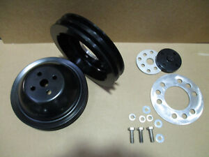 New Buick Nailhead Black 2 Groove Pulleys 264 322 1953 1954 1955 1956 Add P s