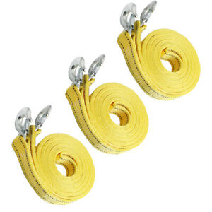 3pack 20ft 8 Tons Car Emergency Tow Strap Heavy Duty Towing Pull Rope With Hooks