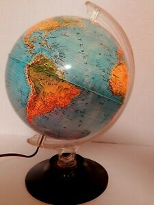 Vintage Rand Mcnally Physical Political Globe Lights Up 1982 Very Good Condition