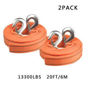 2pack Heavy Duty Tow Strap With Hooks 13 000 Lb Capacity 2 X 20 Orange Rope