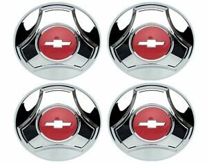 Oer Reproduction Chrome Plated Hub Cap Set 1964 1966 Chevy Pickup Truck 1 2 Ton