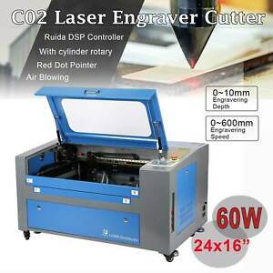 Co2 Laser Engraver Cutter 60w 16x24 W Rotary Red Dot Pointer Dual Platform New