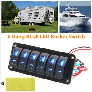 6 Gang Led Rocker Switch Control Panel Circuit Charger Car Truck Rv Boat Marine