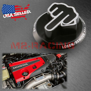 Black Middle Finger Engine Oil Filter Tank Cap Cover Aluminum For Acura Honda