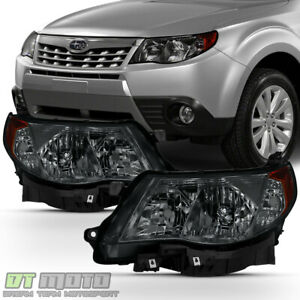 Smoked 2009 2013 Subaru Forester Headlights Halogen Headlamps W Bulb Left right