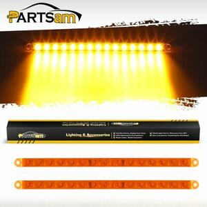 2x 12 Inch Amber 15 2835 Smd Led Truck Clearance Identification Marker Light Bar