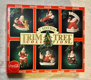 COCA COLA 1ST EDITION TRIM-A-TREE COLLECTION SANTA CHRISTMAS ORNAMENTS NEW