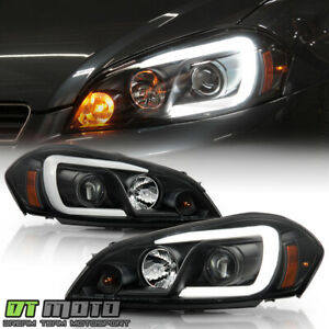 2006 2013 Chevy Impala Black Led Light Tube Projector Headlights Headlamps Pair