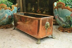 Antique English Copper Planter Jardiniere Plant Flower Box Brass Lions Paw Feet