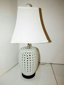 Reticulated White Ceramic Lamp Style White Hollywood Regency 22 Tall
