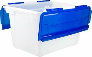 Storex Flip Top Tote Frost blue 4 pack