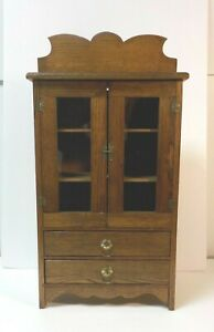 Vintage Oak Hand Made Miniature Child S Country Cupboard C Early 20th C