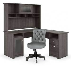 l Shaped Desk With Hutch And Tufted Chair id 3842198
