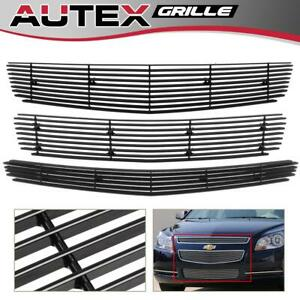 For Chevy Malibu 2008 2012 Black Horizontal Billet Grille Grill Combo Insert