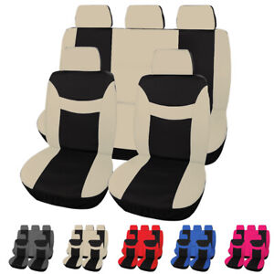 9pcs Universal Car Seat Covers Front Rear Head Rests Full Set Protector