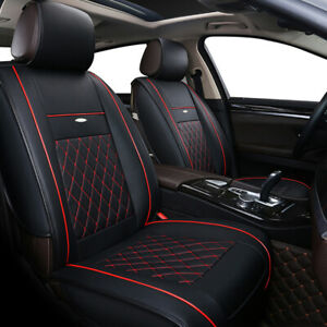 Car Seat Covers Protector 5 seats Cushion Black Luxury Pu Leather Universal Suv