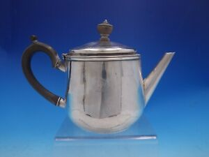 Georgian English Sterling Silver Tea Pot Wood Handle Horse Crest 4085