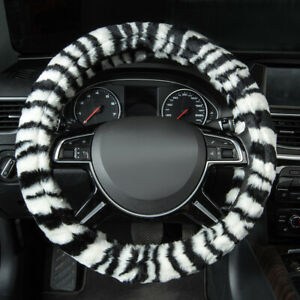 Universal Car Steering Wheel Cover Zebra Pattern Soft Warm Plush Cold Protection