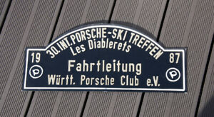 Vintage Car Club Rallye Sign Porsche Ski Meeting Les Diablerets 1987 Catenary