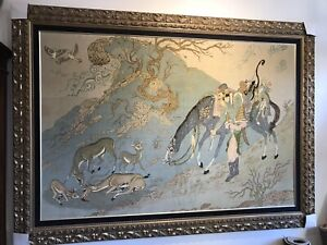Large New 55 X75 Inch Authentic Silk Rug Hand Knotted Pictorial With Wood Frame