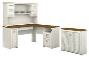 2 pc L Shaped Desk With Hutch Set In Antique White And Tea Maple id 3906382