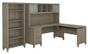 2 pc L Shaped Desk With Hutch And Bookcase Set In Ash Gray id 3906397