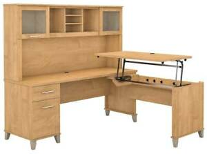 L Shaped Desk With Hutch Set In Maple Cross id 3906351