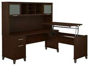 Office L Shaped Desk With Hutch In Mocha Cherry id 3906352