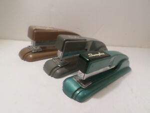 3 Vintage Swingline 27 Stapler Gray Green Brown Good Working Condition