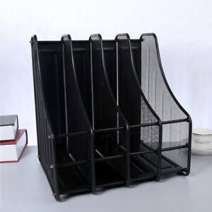 4 Slots Metal File Holder Magazine Book File Organizer Stand Rack Office Desktop
