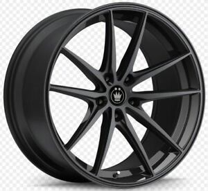 19x8 5 Konig Oversteer 5x108 42 Gloss Black Rims Set Of 4