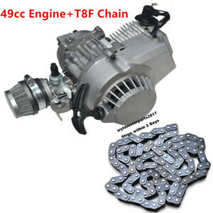 Complete Racing Motor Engine T8f Chain For 49cc 2 Stroke Pocket Bike Scooter