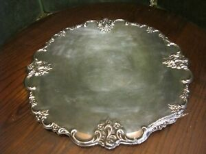 Ornate International Silver Company Silver Plated Round Platter Tray 6521