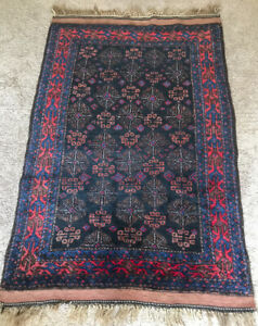 Old Kurdish Rug With Lattice Design Full Pile Excellent Condition Free Ship