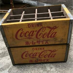 Coca-Cola Wooden Box Antique Case Set Delivery Yellow  Vintage #12051