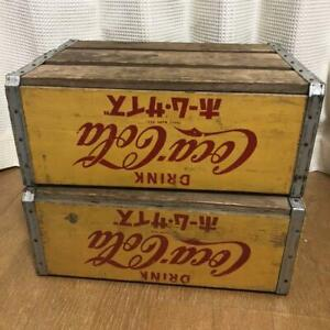 Coca-Cola Wooden Box Antique Case Set Delivery Yellow  Vintage #12058