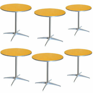 6 Pack 30 Round Bistro Table 2 Adjustable Height Wood Restaurant Dining Tables