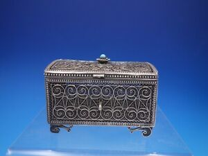 Sterling Silver Box With Turquoise Cabochon And Filigree Layers 4210