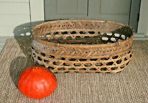 Antique 19c American Primitive Splint Basket Large Gathering Cheese Bassinet
