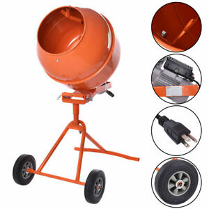 Portable 5cuft Electric Concrete Cement Mixer Barrow Machine 1 2hp Mixing Mortar