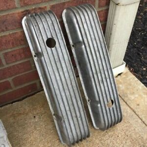 Cal Custom Vintage Finned Aluminum Genuine 40 2000 Valve Covers Sbc Hot Rod