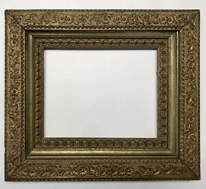 Early 1900 S Gilded Gesso Wood Antique Floral Design Picture Frame 15 X 13