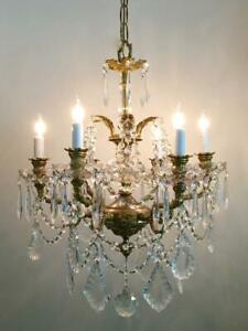 Antique Vtg French Empire Solid Brass Fish Arms Czech Crystal Prisms Chandelier