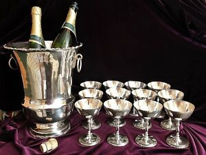 Lg Sterling Silver 925 Champagne Ice Bucket Cooler 12 Cocktail Stems 10lbs