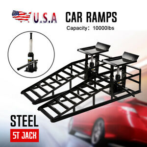 2pc Hydraulic Vehicle Car Ramps 10 000lbs Capacity Portable For Car Repair Black