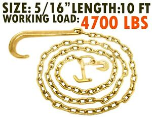 5 16 X 10 Ft Grade 70 Tow Chain 15 J Hook Mini R Hook Recovery Wrecker Axle